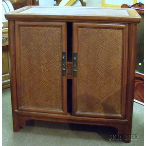 Asian Hardwood and Woven Split-Cane Panel Two-Door Cabinet.