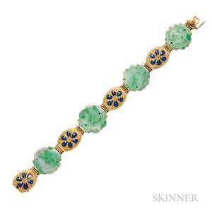18kt Gold, Jade, and Enamel Bracelet