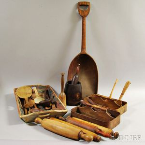 Group of Turned and Carved Wood Domestic Items