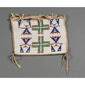 Central Plains Beaded Hide and Cloth Possible Bag