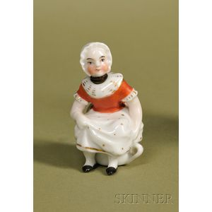 Porcelain Bottle Formed as a Lady on a Chamber Pot