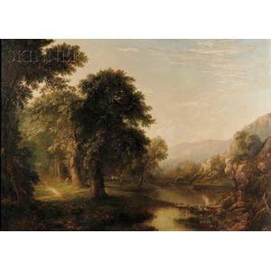 American School, 19th Century      River Landscape with Duck Hunter