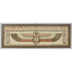 Framed Egyptian-style Appliqued Scarab Textile