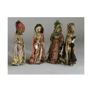 Four Continental Wax Fashion Dolls