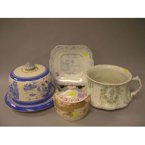 English Ceramic Chamber Pot, Covered Sugar, Cheese Dish, and Serving Plate.
