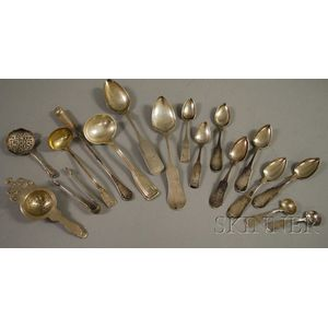 Four Pieces of Sterling Silver Serving Flatware and Eleven Pieces of Coin Silver   Flatware