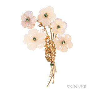 18kt Gold and Carved Opal Flower Brooch