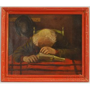 American School, Late 19th Century      Portrait of a Man Asleep on his Book.