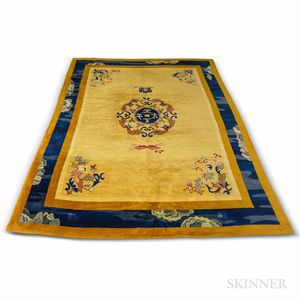 Chinese Room-size Carpet with Gold Ground.     Estimate $400-600