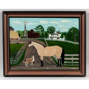Seymour Lindsey (Ohio, 1848-1927)      Horse and Dog on the Farm