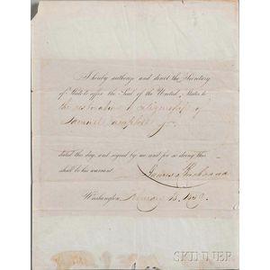 Buchanan, James (1791-1868) Document Signed, 18 February 1859.