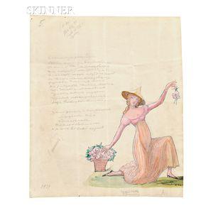 Sergei Yurievich Soudeikine (Russian, 1883-1946), Costume Design for Tatiana Riabouchinska as a Florentine Beauty in Paganini, Scene II