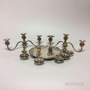 Whiting Manufacturing Co. Sterling Silver Footed Tray and Two Three-light Candelabra Converters