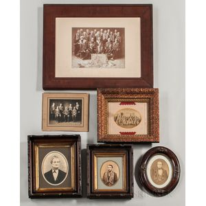 Six Mostly Framed Photographs of Odd Fellows Members Wearing Membership Collars or Pins