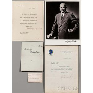 Presidential Signatures and Signed Documents, 20th c., Nine Examples.