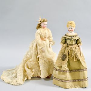 Bisque Shoulder Head Doll and a Bisque French Fashion Doll