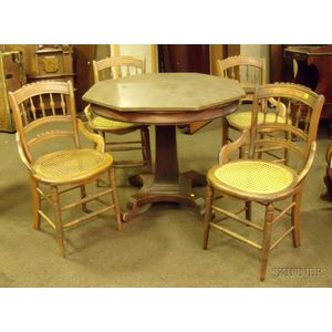 Empire Mahogany Veneer Pedestal-base Occasional Table   and a Set of Four Late Victorian Caned Ash Dining Chairs