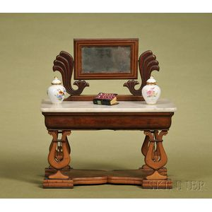 Classical Mahogany and Marble-top Dressing Table with Mirror