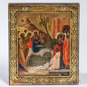 Russian Icon Depicting the Entry of Christ into Jerusalem