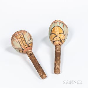 Two Southwest Polychrome Gourd Rattles