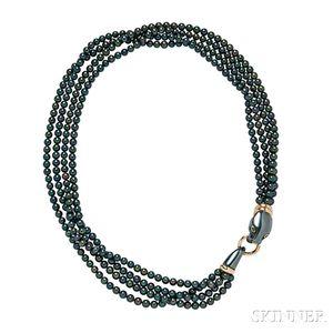 18kt Gold, Hematite and Black Pearl Necklace, Cartier, Paris