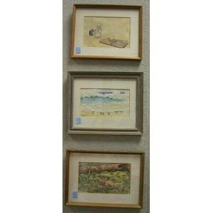Three Framed Watercolors Including:  Fawn, Gulls, and Yeild Not to Temptation