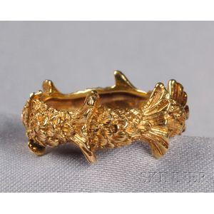 18kt Gold Fishtail Band, Angela Kramer