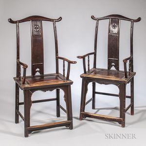 Pair of Hardwood Yoke-back Chairs