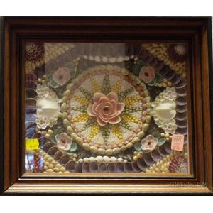 Walnut Framed Seashell Mosaic Sailor