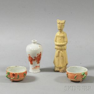Four Ceramic Vessels and Figures