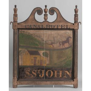 """Two-sided Painted """"Canal Hotel"""" Tavern Sign"""