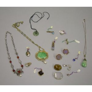 Group of Jade, Moonstone, Carnelian, and Silver Jewelry Items.