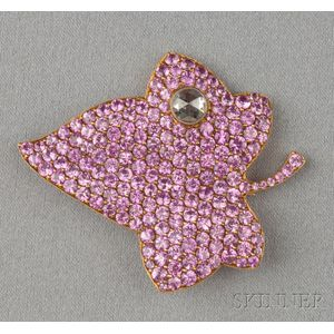 18kt Gold, Pink Sapphire, and Diamond Leaf Brooch