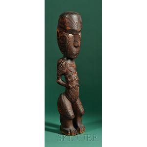 Maori Carved Wood Male Figure