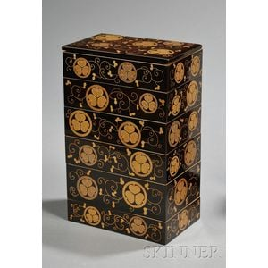 Six-tiered Gilt-lacquered Box and Cover