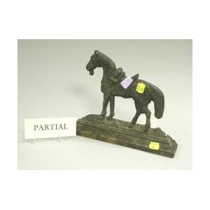 Black Painted Cast Iron Saddled Horse Doorstop and a Rococo-style Gilt Cast Iron