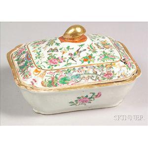 Rose Canton Porcelain Covered Vegetable Dish