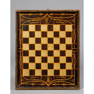Grain-painted and Gilt Checkerboard