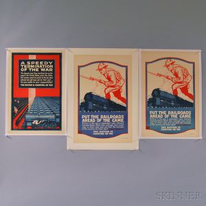 Four U.S. WWI Lithograph Railroad and War Effort Posters