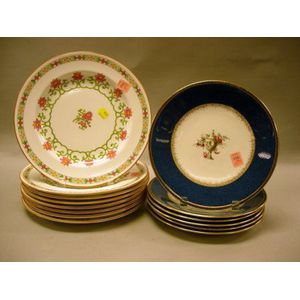 Set of Eight Wedgwood Polychrome Enamel Floral Decorated Porcelain Dinner Plates and a Set of Six Wedgwood Lapis Band and Enamel Floral