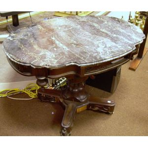 Victorian Rococo Revival Black Marble-top Walnut and Rosewood Veneer Pedestal-base   Center Table