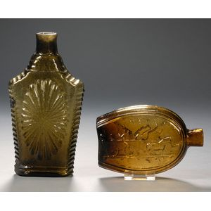 Two Blown Molded Historical Glass Flasks