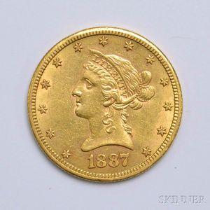 1887-S $10 Liberty Head Gold Coin.     Estimate $500-700