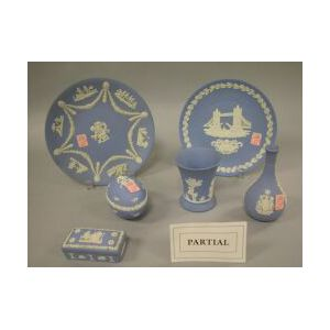 Twenty-five Assorted Wedgwood Light Blue Jasperware Items