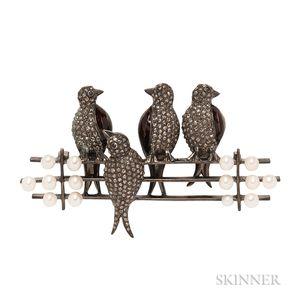 Whimsical Blackened Silver and Diamond Bird Brooch