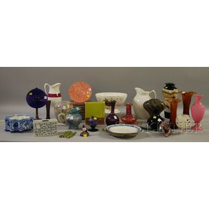 Twelve Pieces of Contemporary Art Glass and Twenty-three Pieces of Assorted Ceramic   Tableware