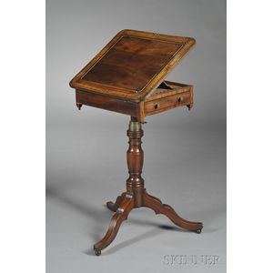Regency Ebony-inlaid and Satinwood Crossbanded Book Stand