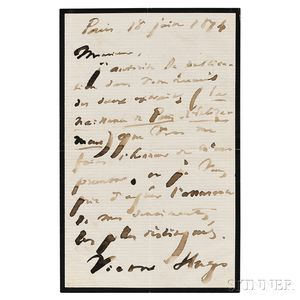 Hugo, Victor (1802-1885) Autograph Letter Signed, 18 June 1874.