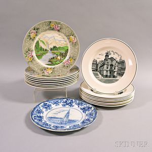 Eighteen Adams and Copeland Spode Transfer-decorated Plates