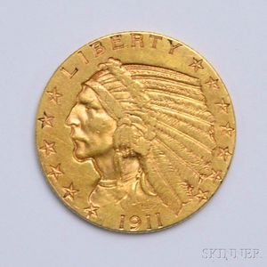 1911-S $5 Indian Head Gold Coin.     Estimate $200-400
